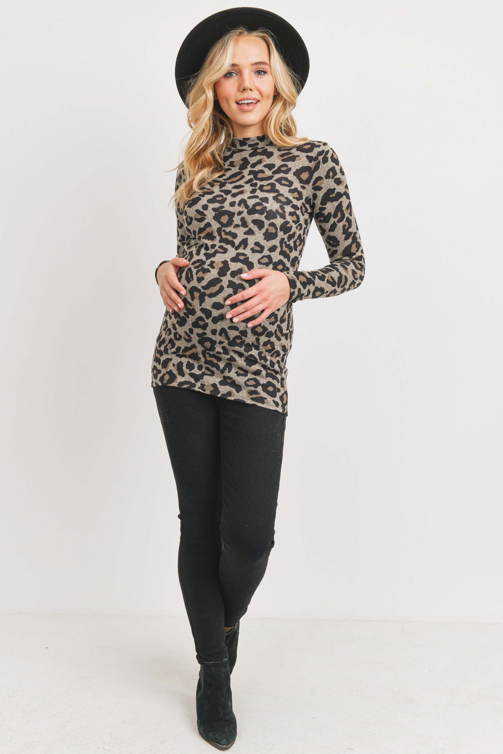 Animal Sweater Knit Mock Neck Maternity Top