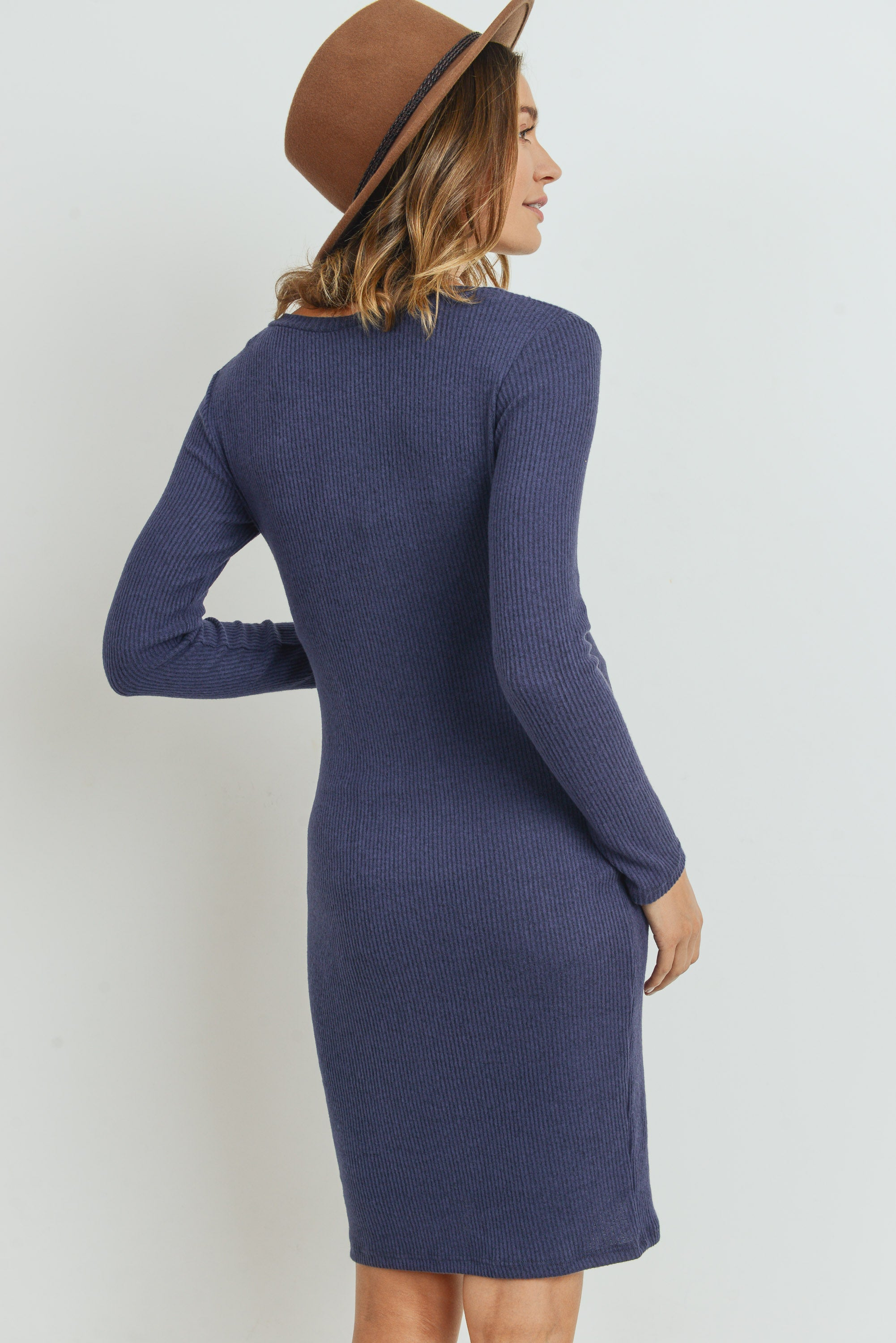Long Sleeve Rib Knit Maternity Dress