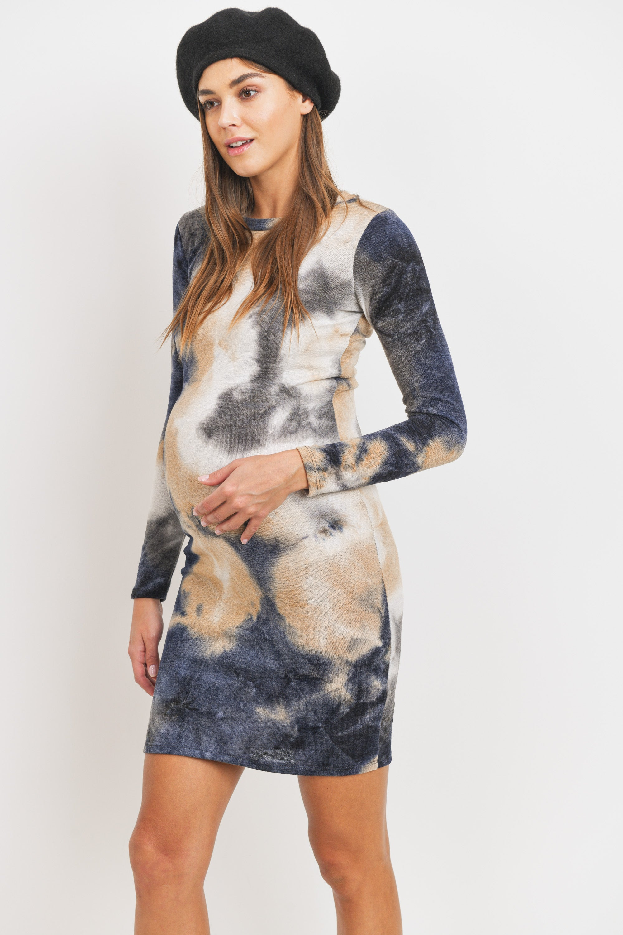 Brushed Hacci Maternity Round Neck Dress