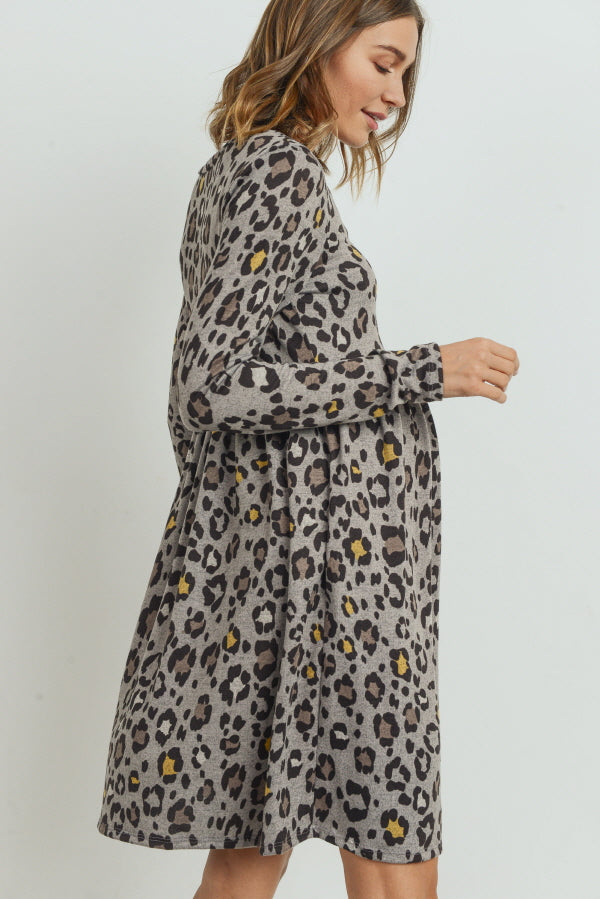 Leopard Long Sleeve Maternity Pocket Dress