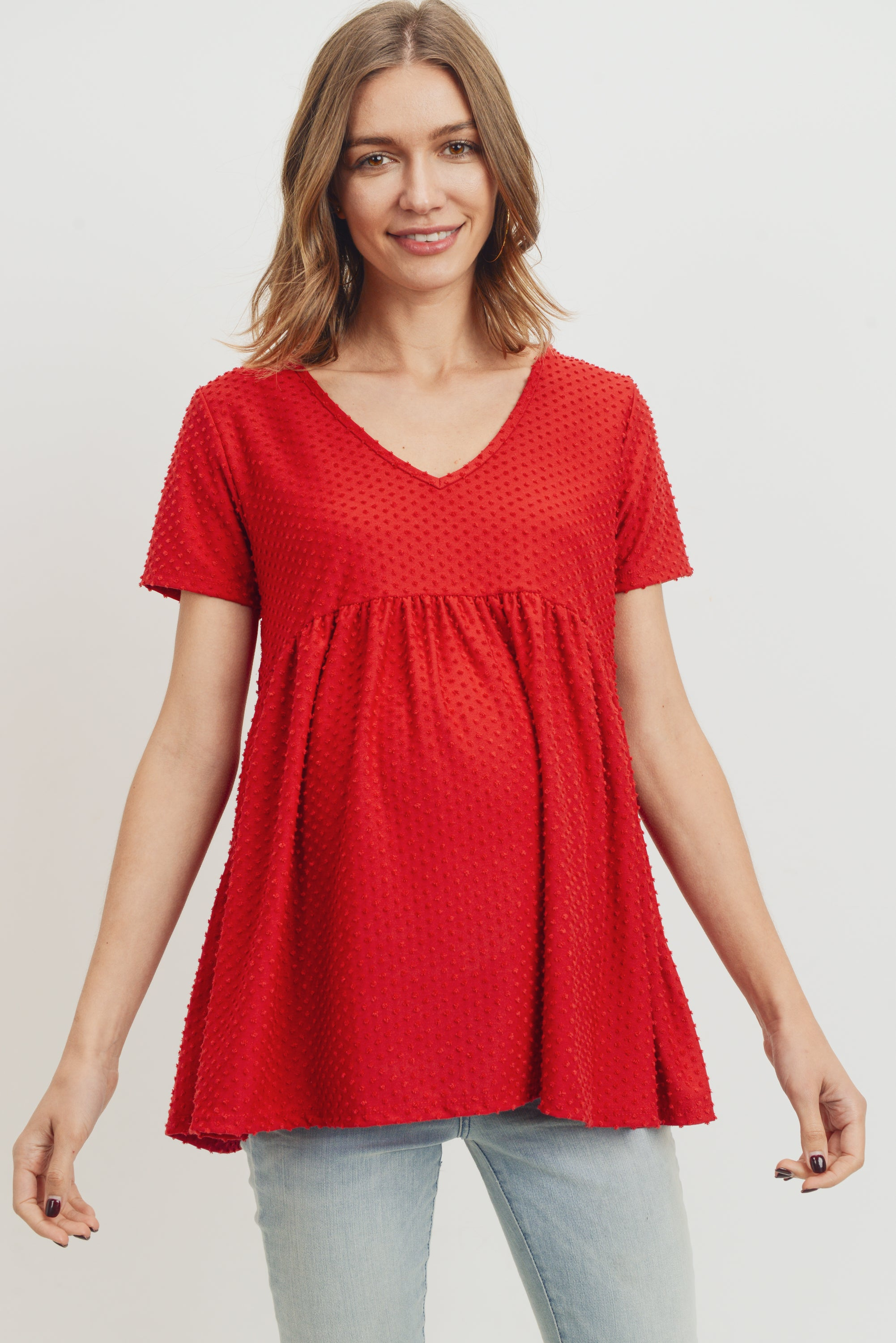 V-Neck Matt Jersey Loose Fit Maternity Top