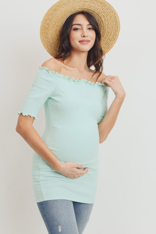 Off Shoulder Rib Knit Maternity Top