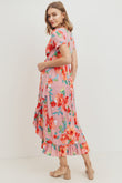Floral Ruffled Trim V-Neck Maternity Dress