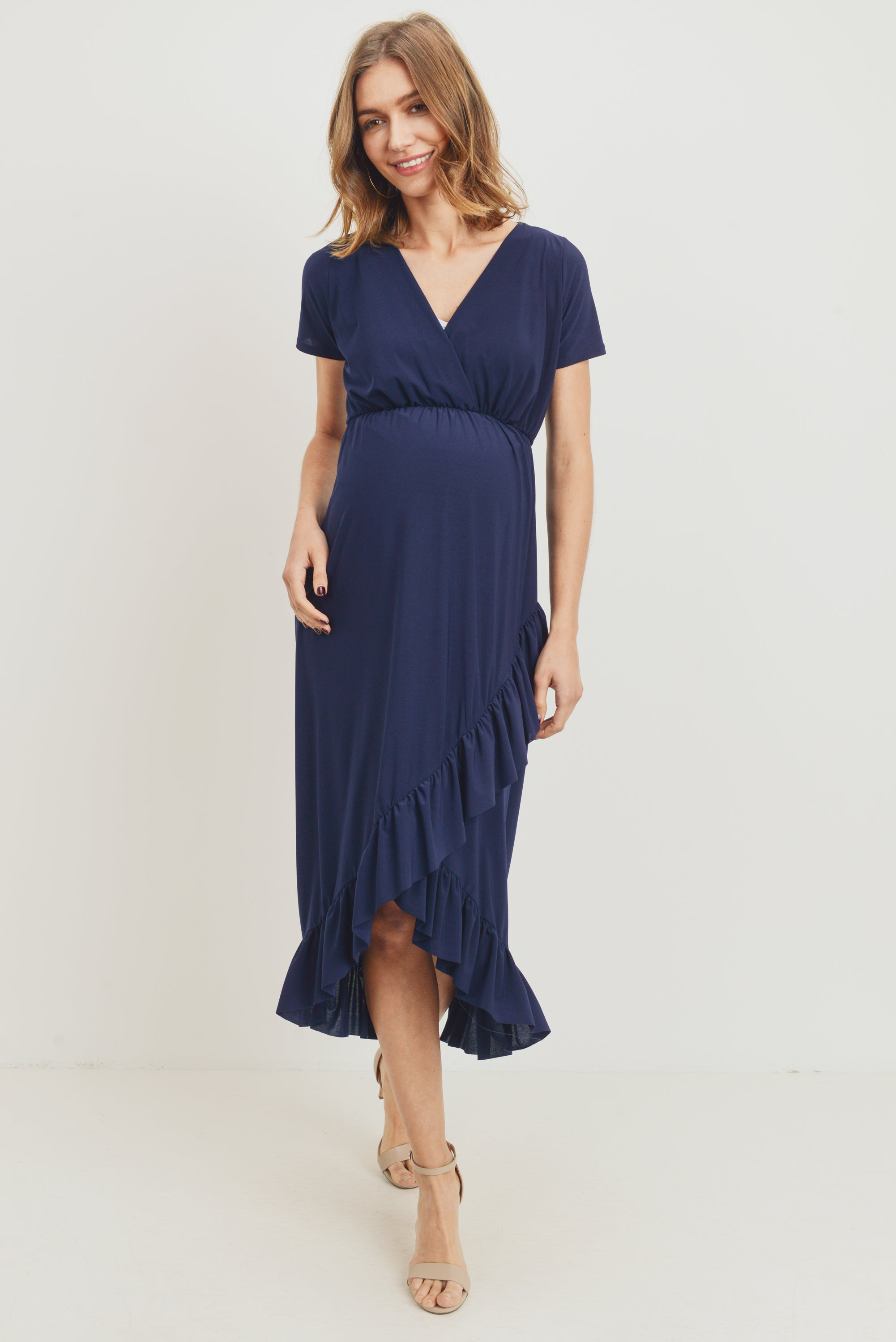 Ruffled Trim V-Neck Maternity Dress