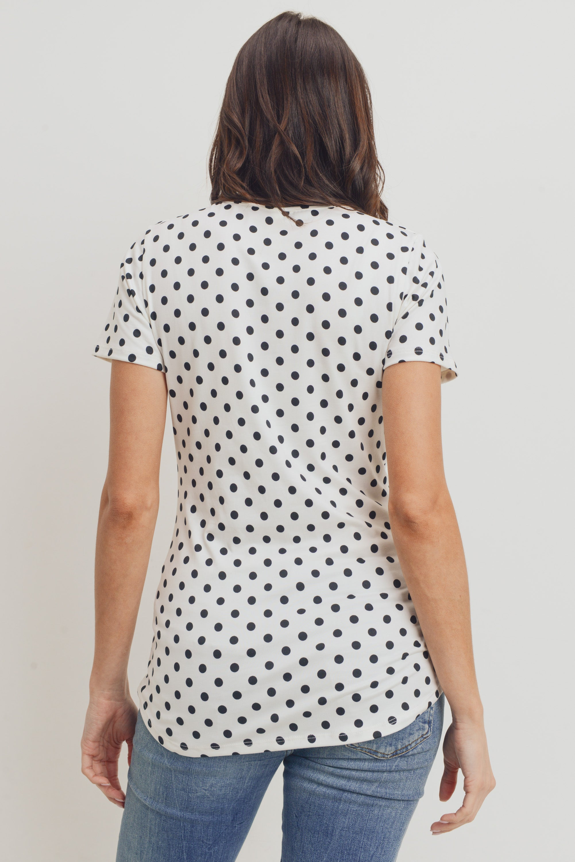 POLKA DOT CROSS FRONT MATERNITY/NURSING TOP