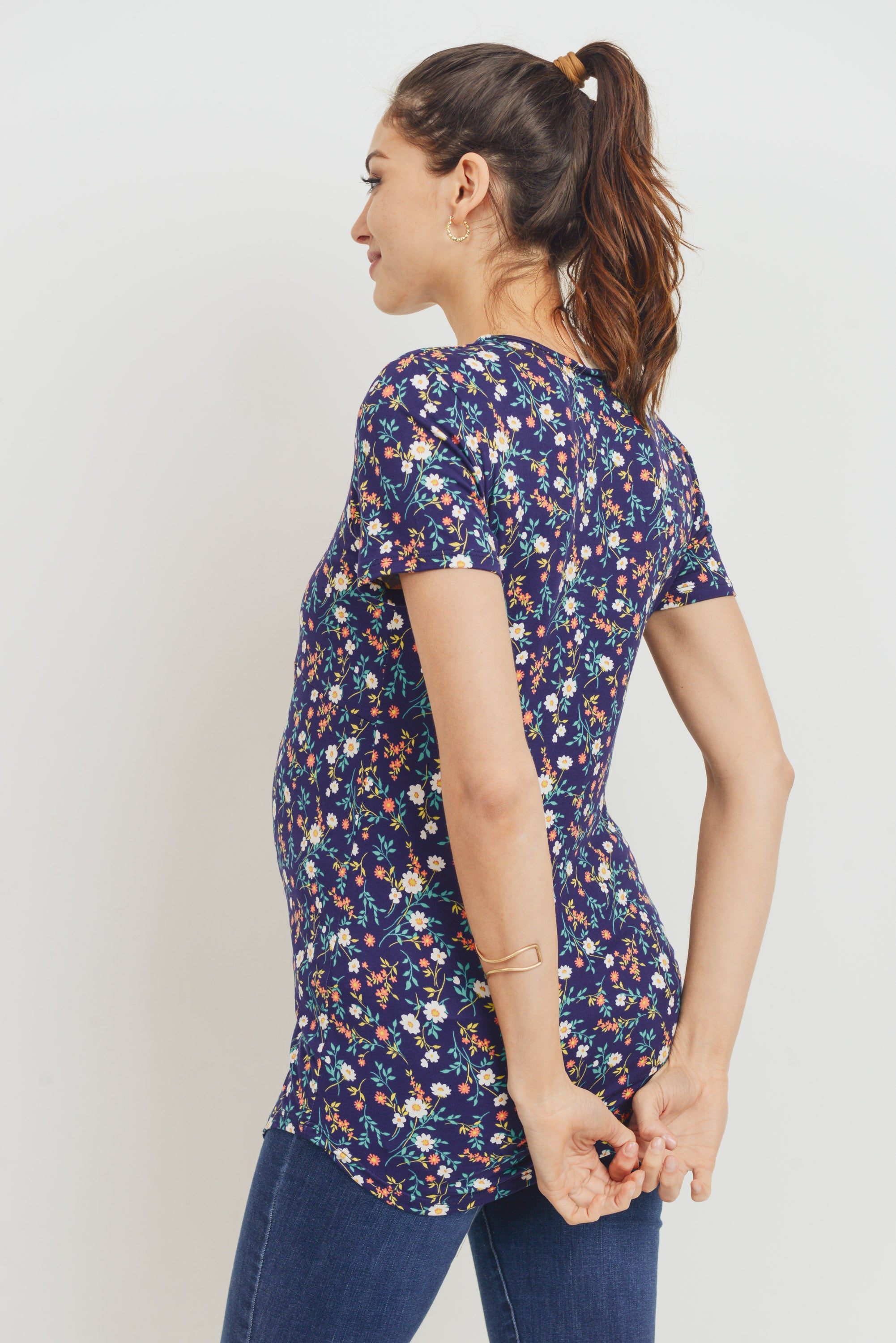 Floral Cross Front Maternity/Nursing Top