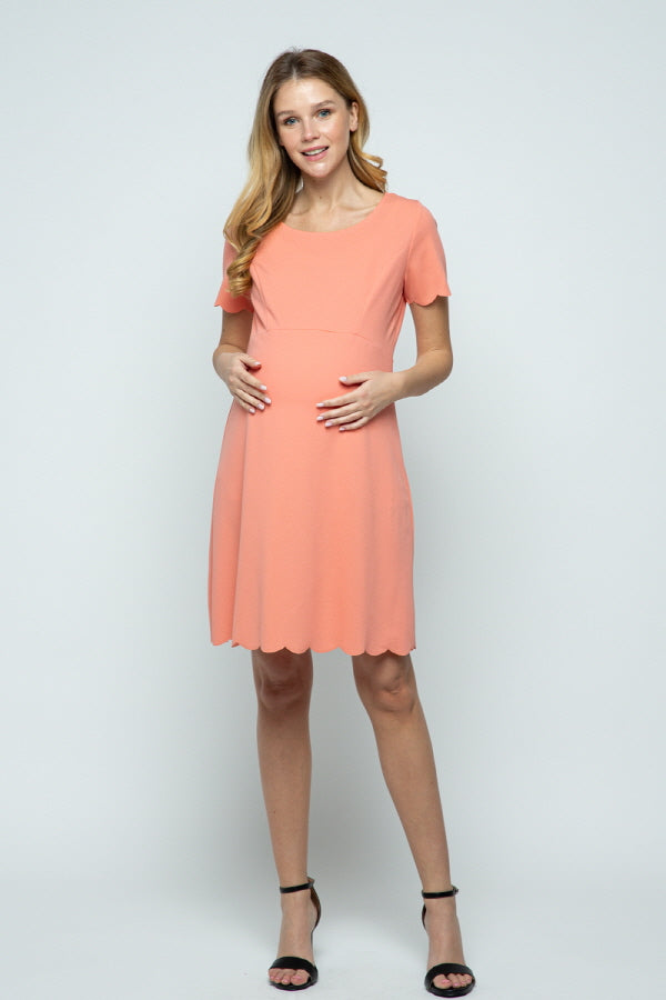 SOLID SCALLOPED  MATERNITY DRESS