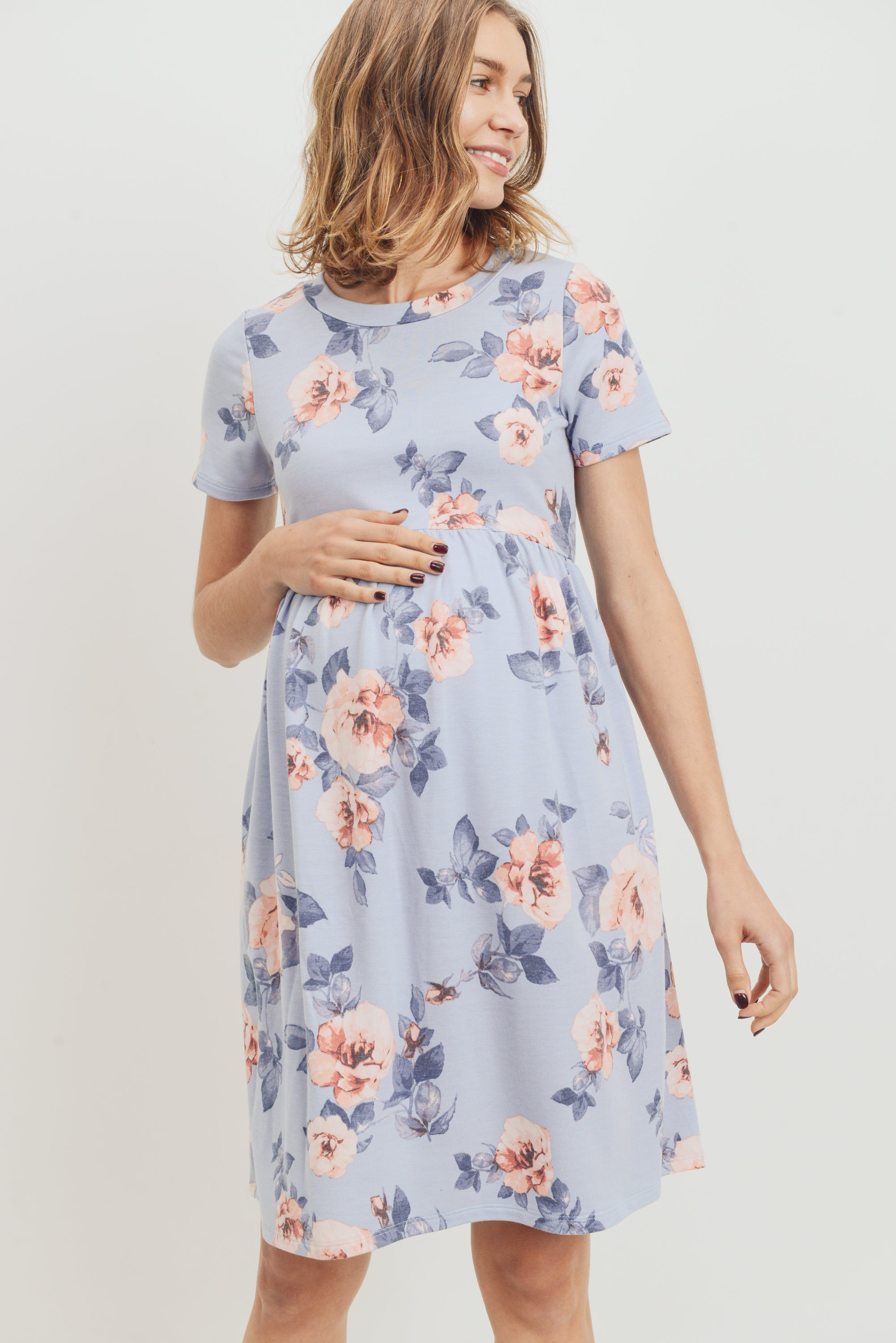 Chambray Floral Babydoll Maternity Dress