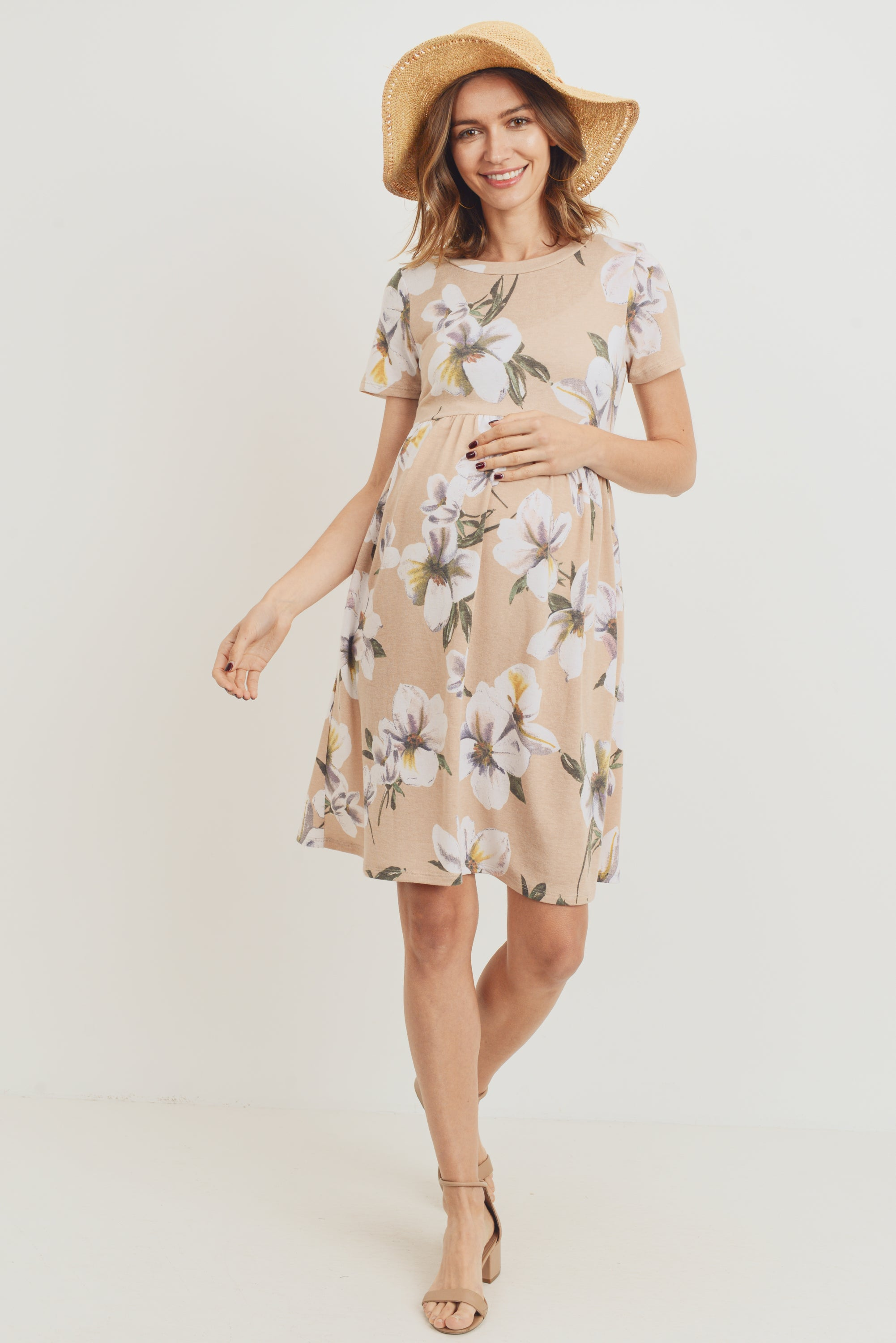 Peach Floral Babydoll Maternity Dress