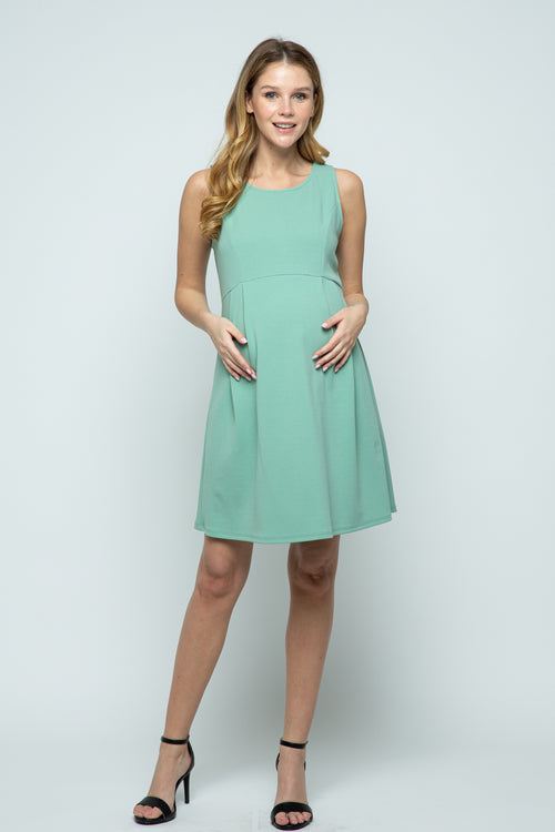 Sleeveless Empire Waist Maternity Mini Dress