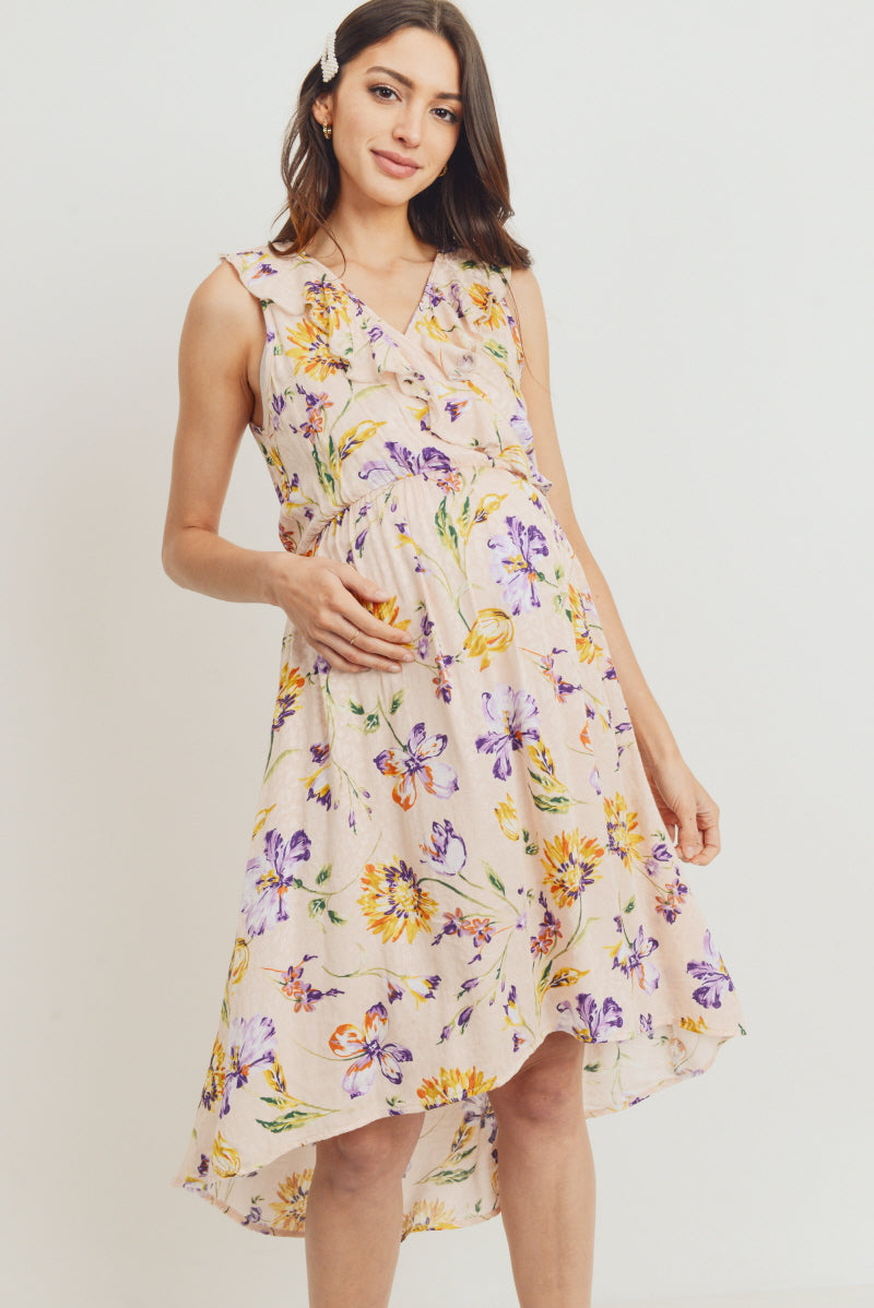 Ruffled Hi Low Floral Maternity Dress