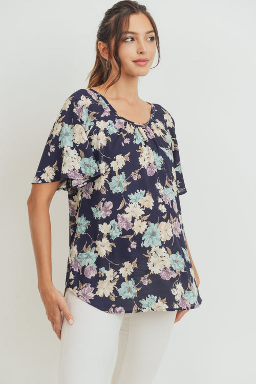 Floral Key Hole Back Maternity Blouse