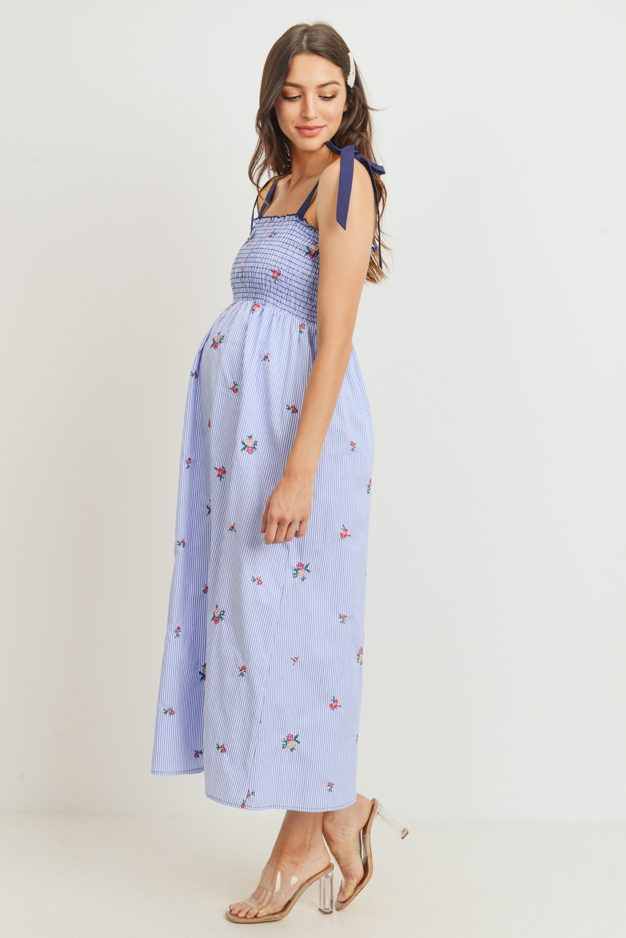 Chambray Striped Smocked Maternity Tube Dress