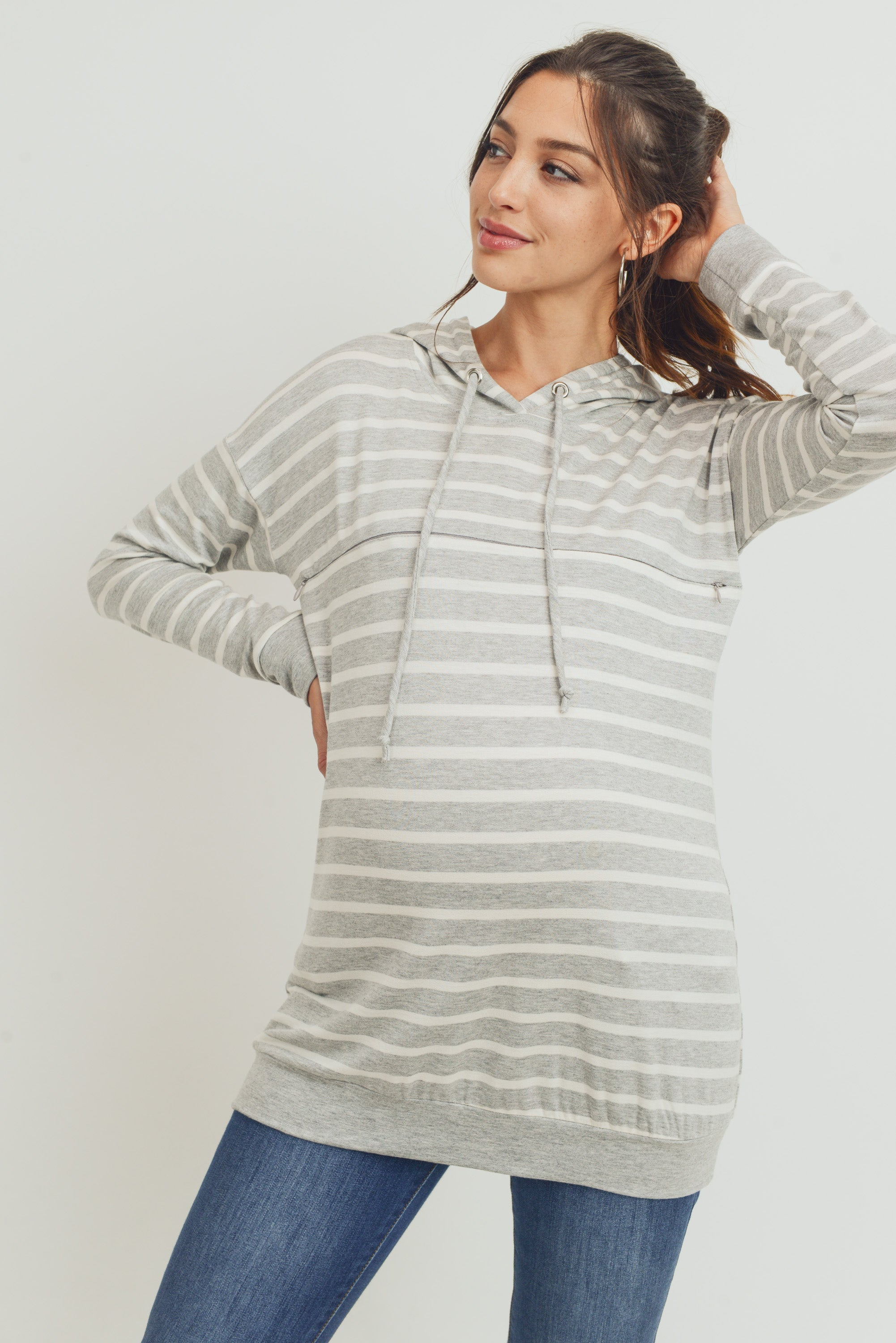 Rayon French Terry Stripped Maternity/ Nursing Hoodie