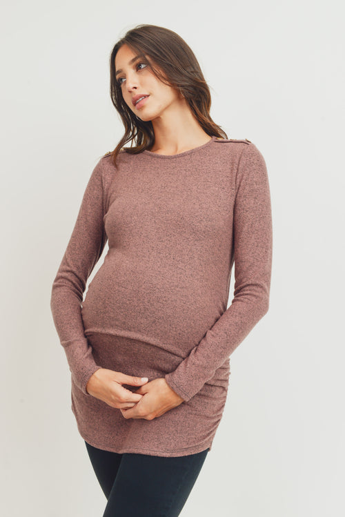 Brushed Rayon Hacci Maternity Shoulder Button Detail Top