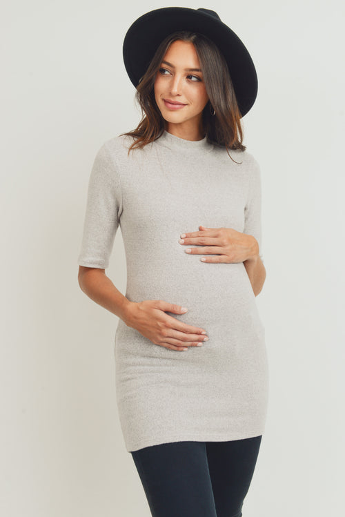 Cashmere-Like Hacci Maternity Mock Neck Top