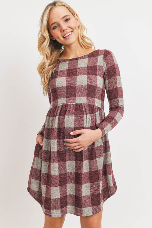 Plaid Sweater Knit Maternity Dress with Pocket