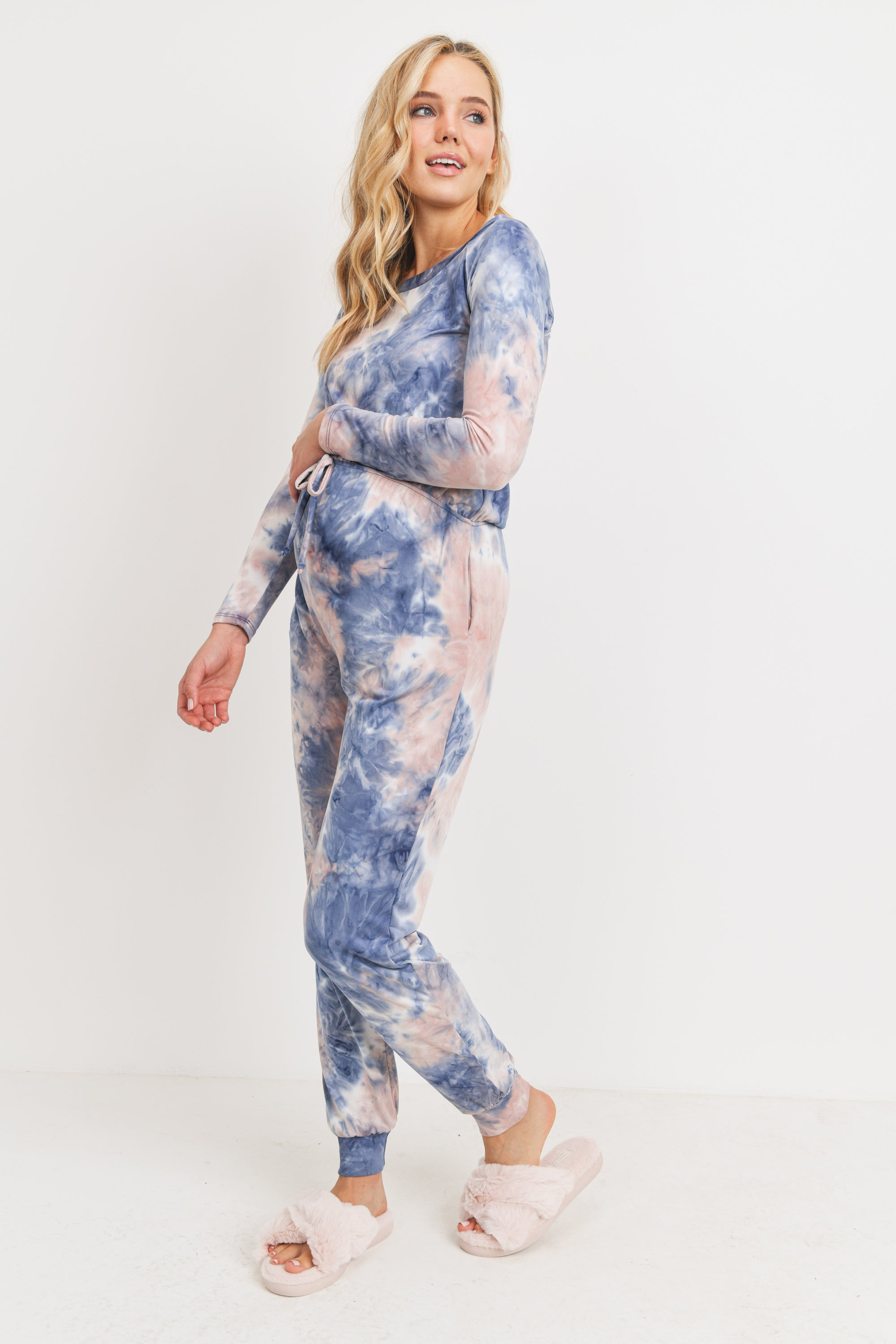 Tie-Dye Long Sleeve Maternity Jumpsuit