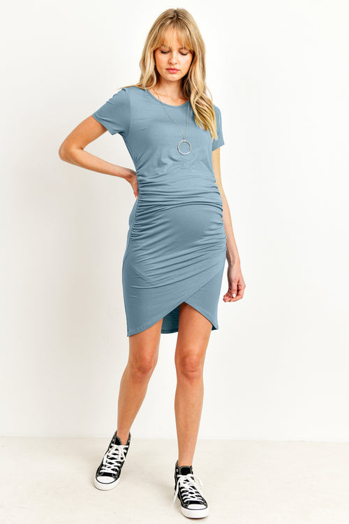 Rayon Modal Ruch Side Maternity Dress