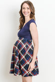 Plaid Flare Maternity & Nursing Dress