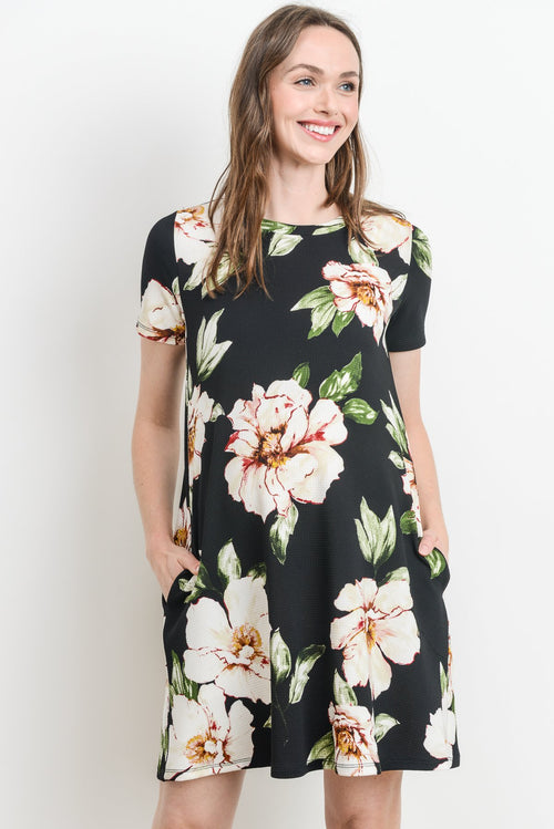 Side Pocket Floral Maternity Shift Dress