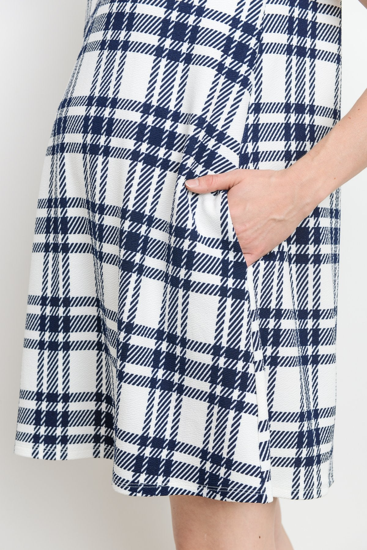 Plaid Side Pocket Maternity Shift Dress