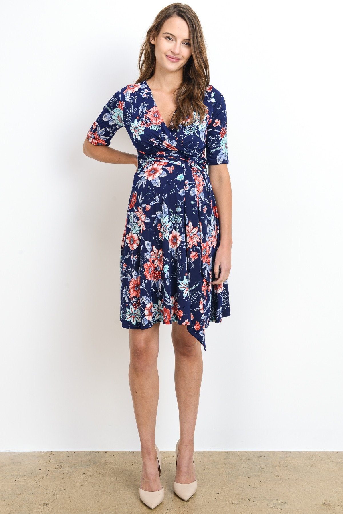 Floral Faux Wrap with Tie Maternity & Nursing Dress