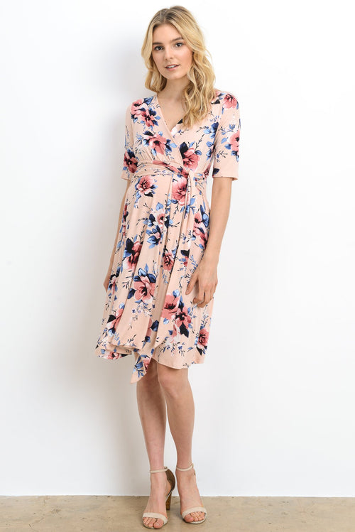 Floral Tie Maternity/Nursing Wrap Dress