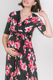 Floral Adjustable Tie Maternity & Nursing Dress