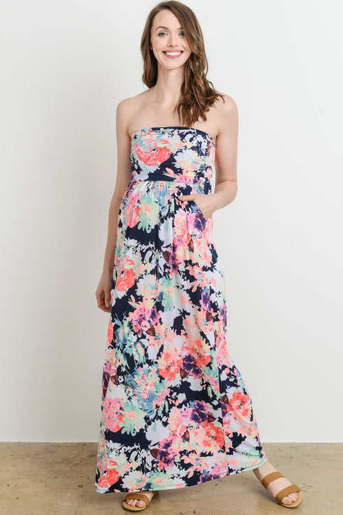 Tube with Pocket Maternity Maxi Dress