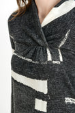 Geo Shawl Collared Maternity Sweater