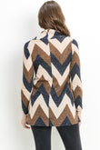 Chevron Stripe Shawl Collar Maternity Sweater