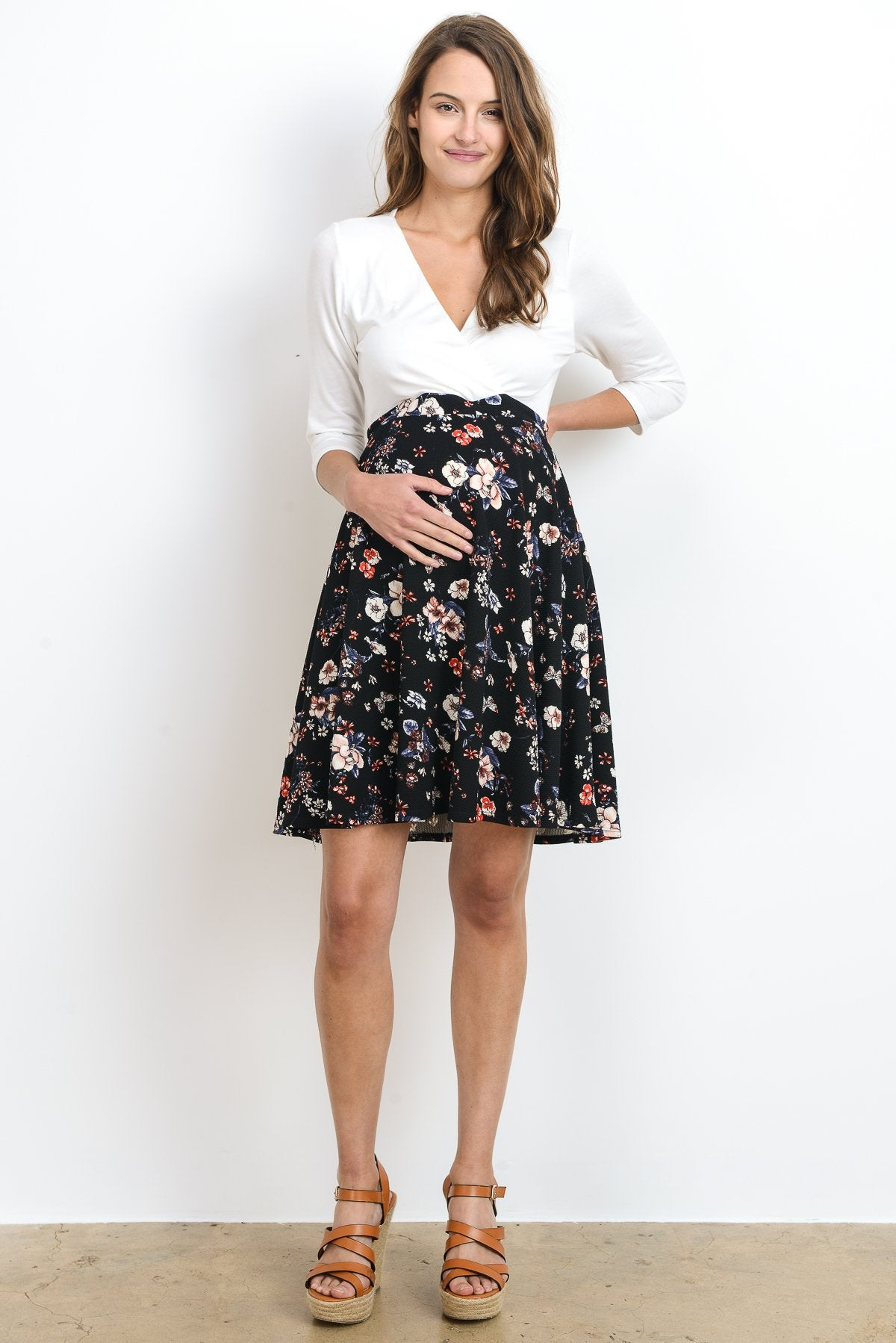Ivory Top Surplice Maternity & Nursing Dress