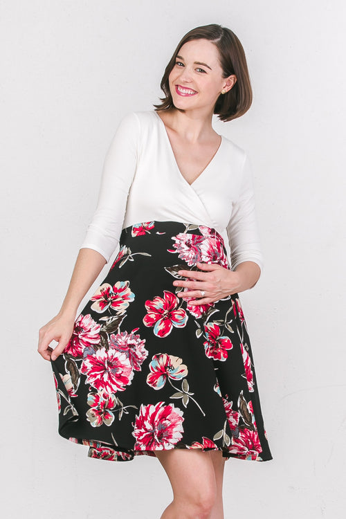 Solid Top Maternity & Nursing Surplice Dress