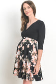 Black Top Surplice Maternity & Nursing Dress