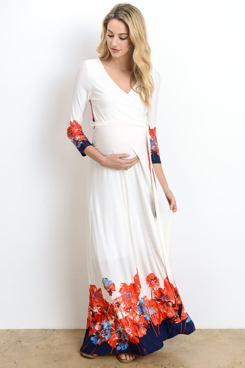 Floral Border Maternity & Nursing Maxi Dress