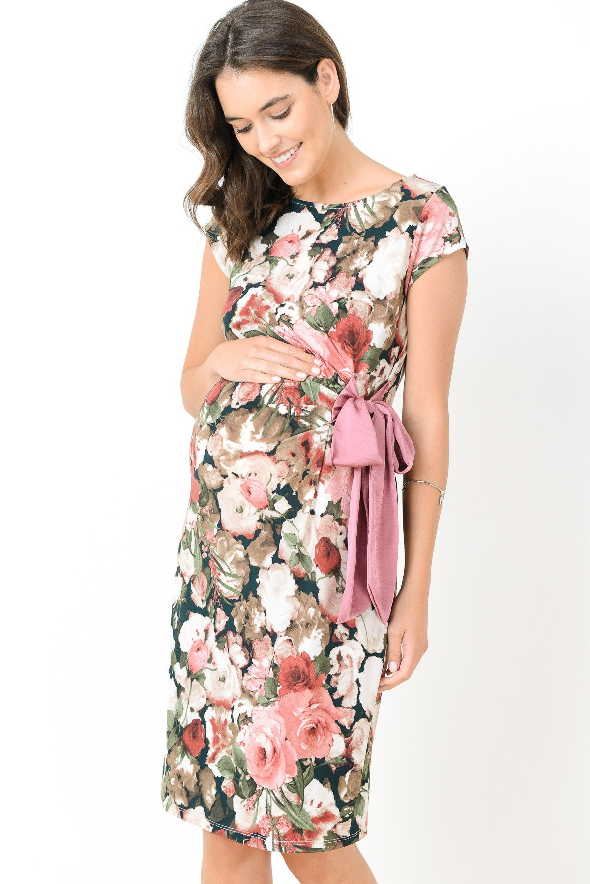 Boat Neck with Ribbon Maternity Dress