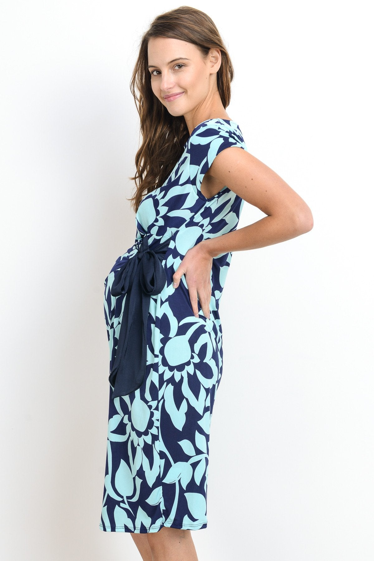 Boat Neck with Ribbon Cap Sleeve Maternity Dress