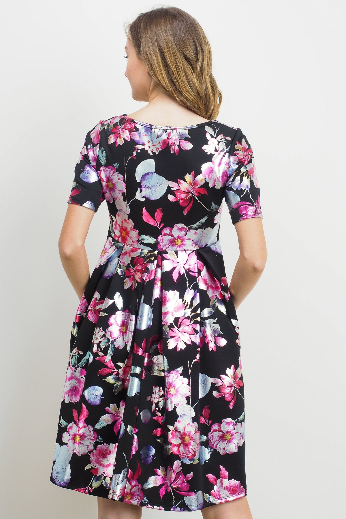Floral Front Pleated Maternity Dress