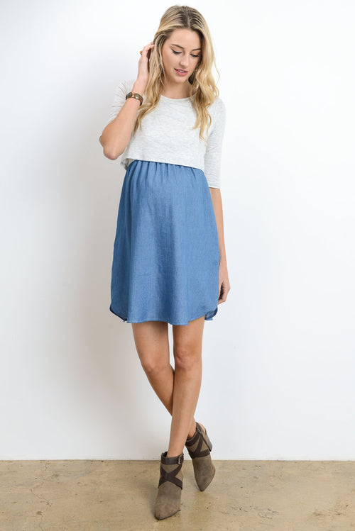 Top Layered Maternity & Nursing Shift Dress
