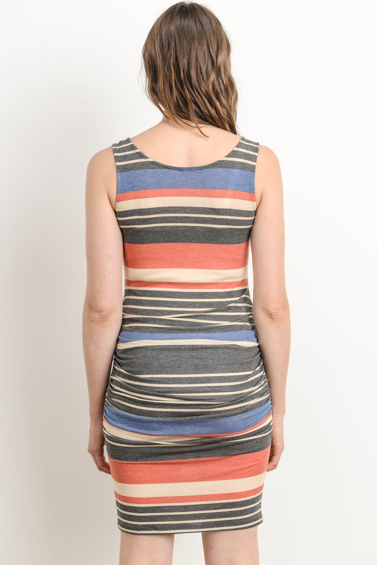 Color Striped Maternity & Nursing Tank Dress