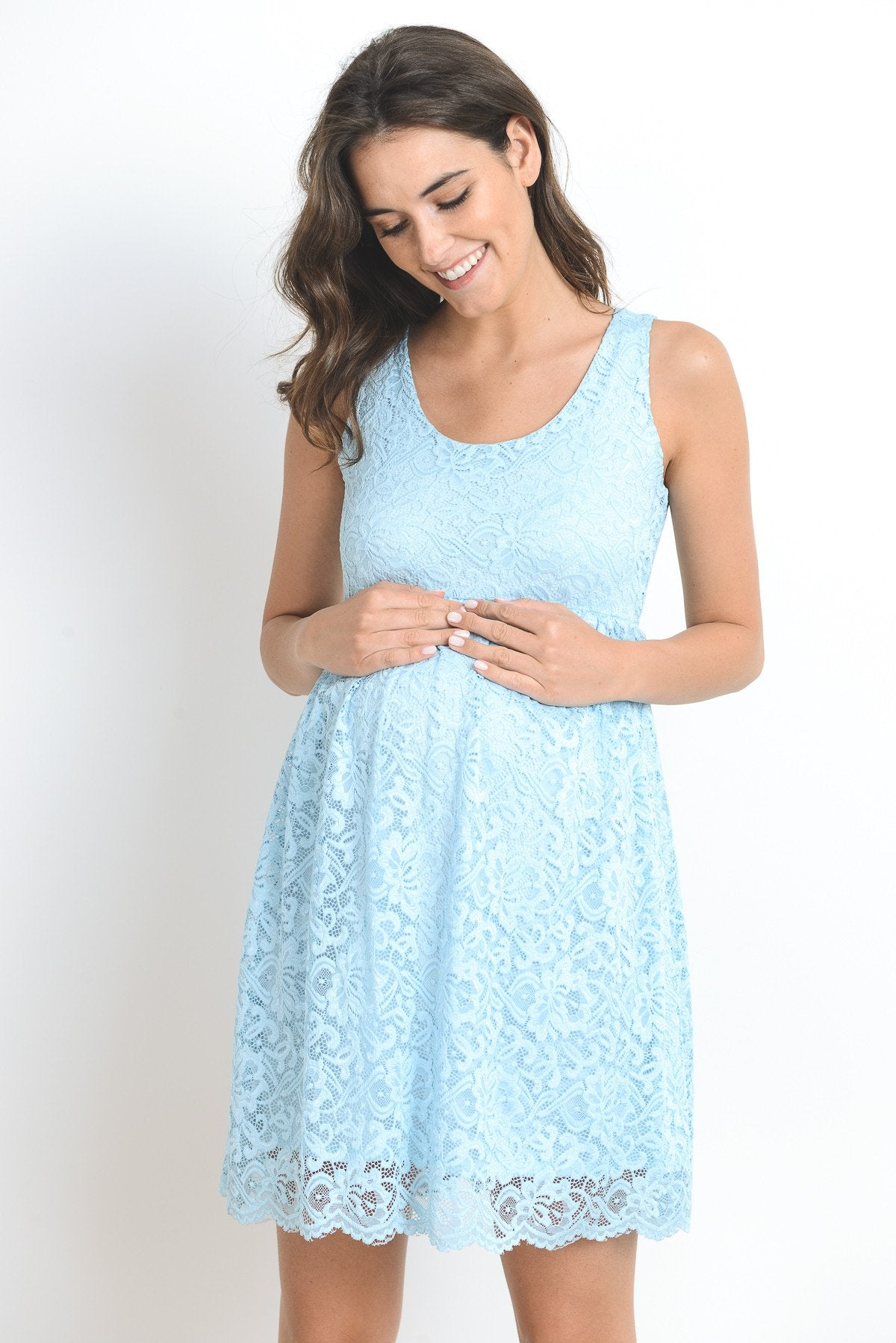 Scallop Lace Sleeveless Maternity Dress