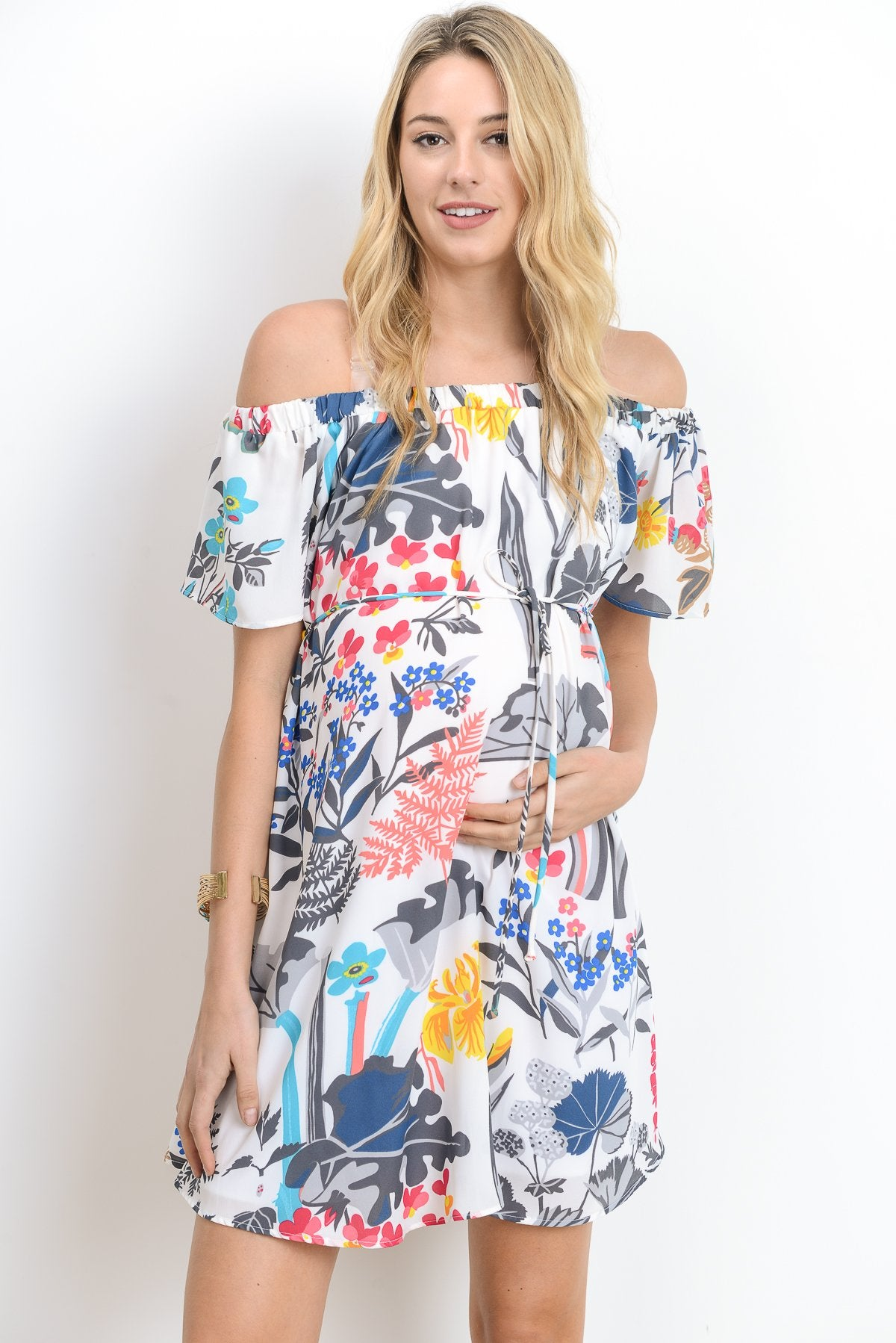 Paradise Loose Fitting Off Shoulder Maternity Dress