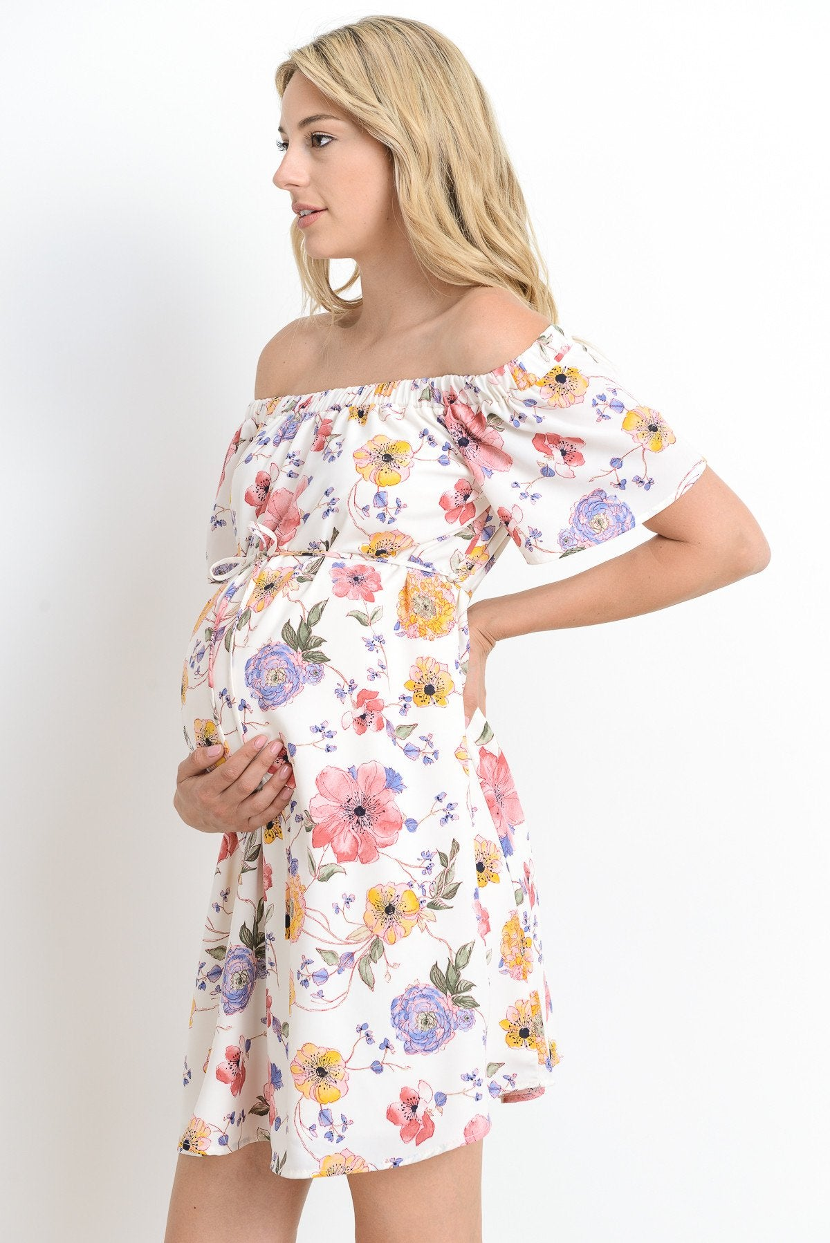 Loose Fitting Off Shoulder Maternity Dress