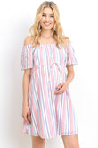 Stripe Cotton Off Shoulder Maternity Dress