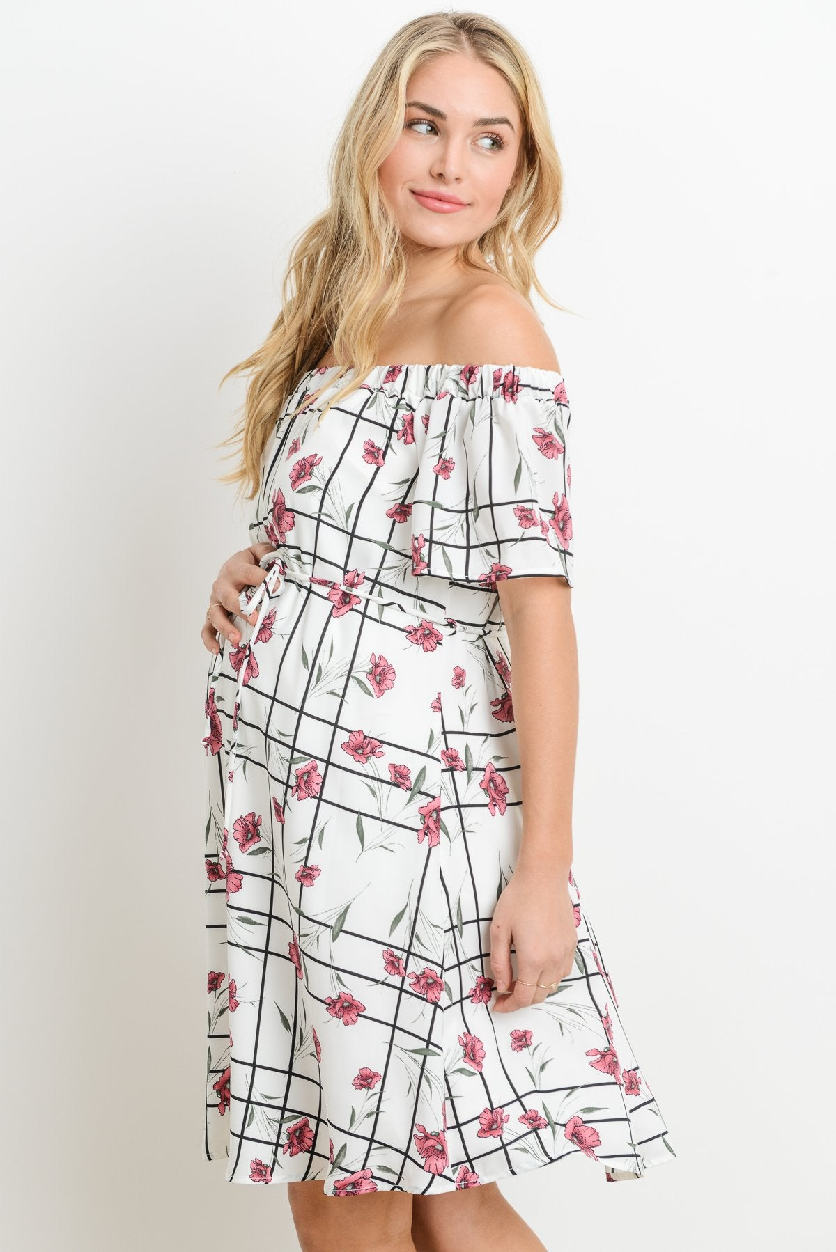 Lined Loose Fitting Off Shoulder Maternity Dress