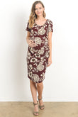 Large Flower Round Neck Maternity Dress