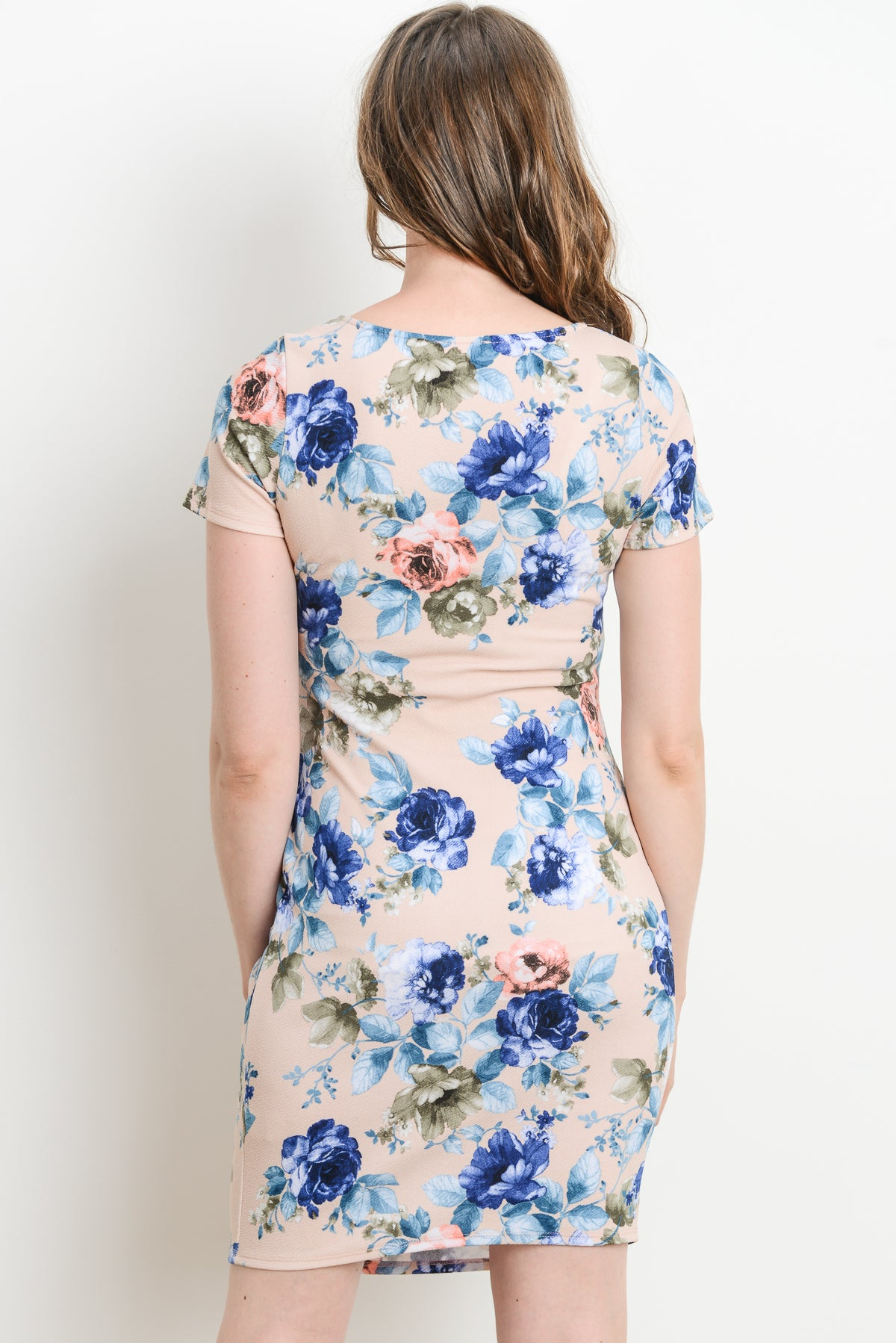 Floral Round Neck Maternity Dress