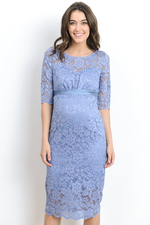 Layered Lace with Ribbon Tie Maternity Dress