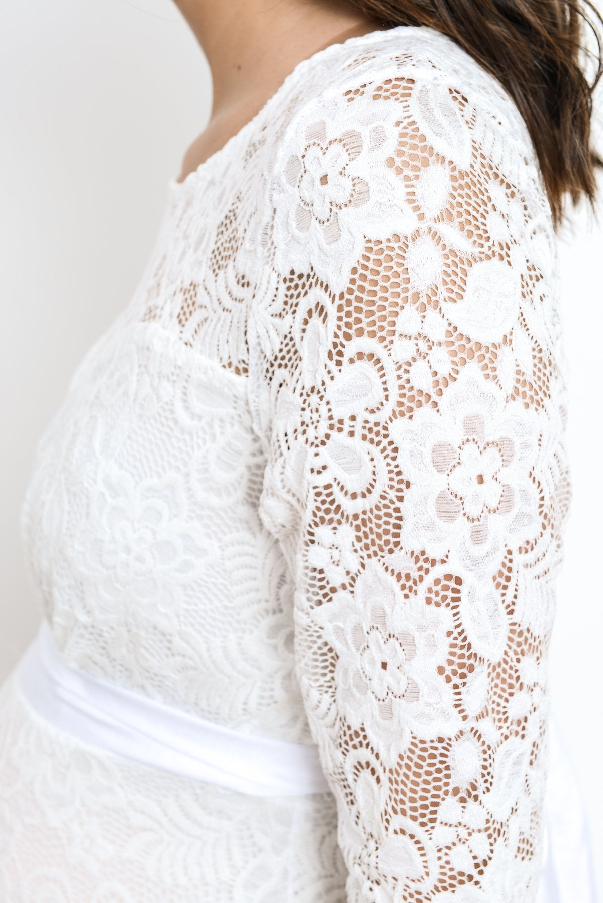Lace with Ribbon Tie Maternity Dress